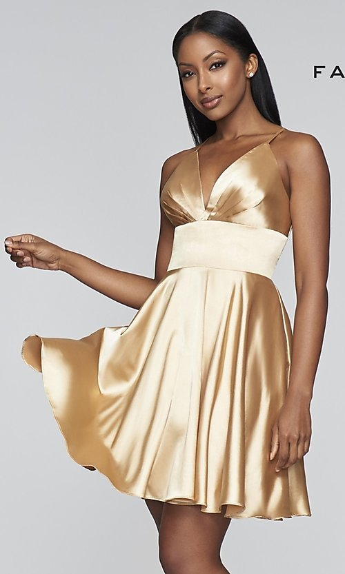 Image of open-v-back short homecoming dress by Faviana. Style: FA-S10363 Detail Image 6
