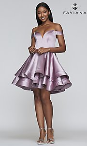 Image of satin babydoll homecoming dress with tiered skirt. Style: FA-S10364 Detail Image 1