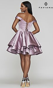 Image of satin babydoll homecoming dress with tiered skirt. Style: FA-S10364 Detail Image 2