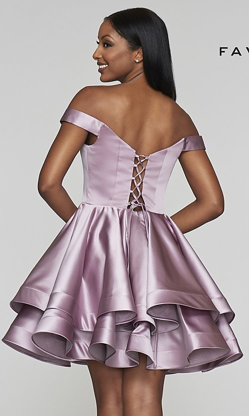 Image of satin babydoll homecoming dress with tiered skirt. Style: FA-S10364 Back Image