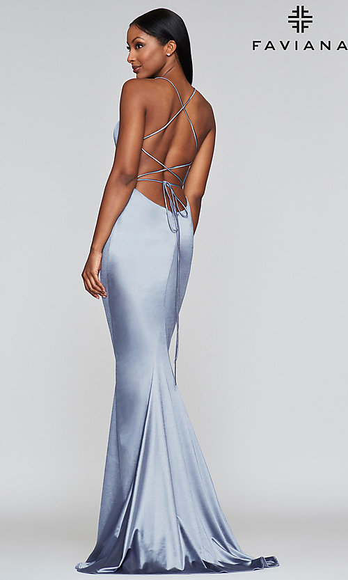 Image of long open-back designer formal dress by Faviana. Style: FA-S10375 Back Image