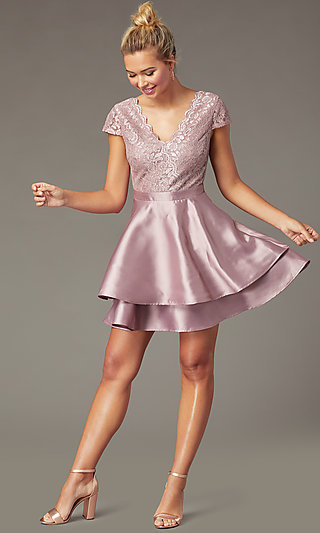 Mauve Pink Lace-Bodice Short Tiered Hoco Dress