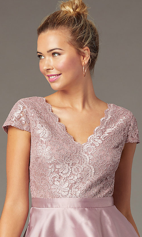 Image of mauve pink lace-bodice short tiered hoco dress. Style: CT-3166AZ6AT3 Detail Image 1