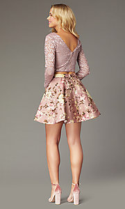 Image of two-piece short long-sleeve homecoming dress. Style: CT-3166BC1AT3 Back Image
