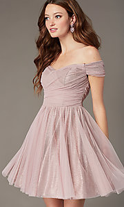 Image of sweetheart short off-the-shoulder homecoming dress. Style: CT-8145CH4AT3 Front Image