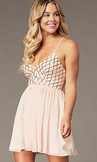 Short Sequin-Bodice Homecoming Dress by PromGirl