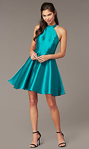 Image of embroidered-back high-neck short homecoming dress. Style: DMO-J324729 Front Image