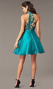 Image of embroidered-back high-neck short homecoming dress. Style: DMO-J324729 Back Image