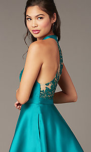Image of embroidered-back high-neck short homecoming dress. Style: DMO-J324729 Detail Image 1