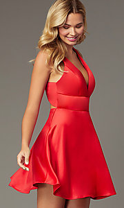 Image of short a-line homecoming red dress by PromGirl. Style: MCR-PL-2490 Front Image