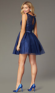 Image of short embroidered-bodice navy homecoming dress. Style: FB-GS9005 Back Image