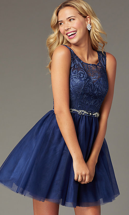 Image of short embroidered-bodice navy homecoming dress. Style: FB-GS9005 Front Image