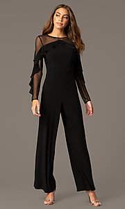 Image of long black party jumpsuit with sheer long sleeves. Style: MO-2308 Front Image