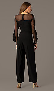 Image of long black party jumpsuit with sheer long sleeves. Style: MO-2308 Back Image
