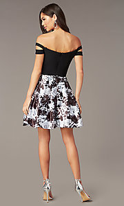 Image of off-the-shoulder short hoco dress with print skirt. Style: BN-1581BN Back Image
