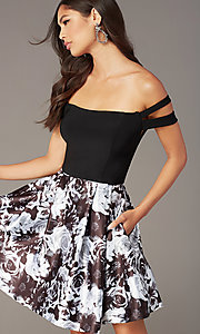 Image of off-the-shoulder short hoco dress with print skirt. Style: BN-1581BN Detail Image 1