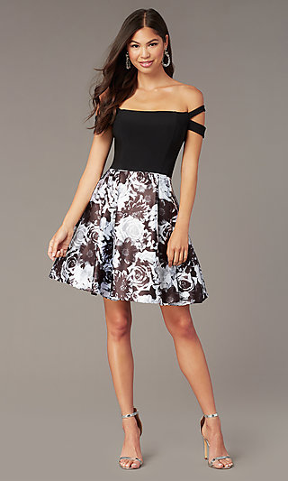 Off-the-Shoulder Short Hoco Dress with Print Skirt