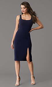 Image of knee-length metallic-knit homecoming party dress. Style: MY-5990AL1C Front Image