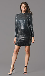 Image of long-sleeve short sequin holiday party dress. Style: MY-6010GE1C Front Image