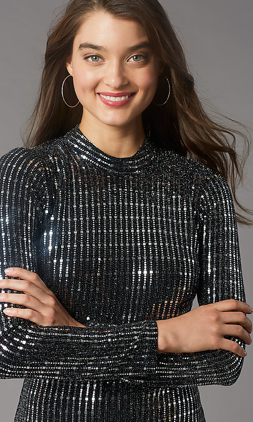 Image of long-sleeve short sequin holiday party dress. Style: MY-6010GE1C Detail Image 1