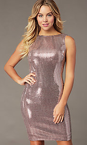 Image of metallic mauve pink short homecoming party dress. Style: MO-21848 Front Image