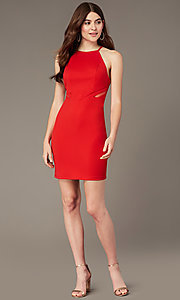 Image of tomato red short homecoming dress with sheer sides. Style: MY-5875US1C Detail Image 1