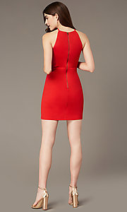 Image of tomato red short homecoming dress with sheer sides. Style: MY-5875US1C Detail Image 2