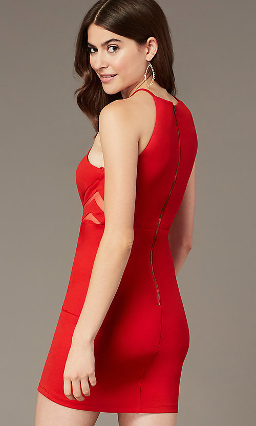 Image of tomato red short homecoming dress with sheer sides. Style: MY-5875US1C Back Image