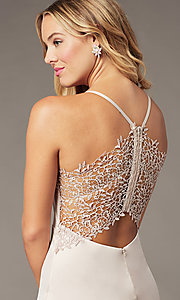 Image of short lace-back satin homecoming party dress. Style: MY-7298YB1C Detail Image 2