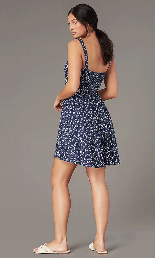 Image of navy short wrap party dress with white floral print. Style: MY-5885WF1D Back Image