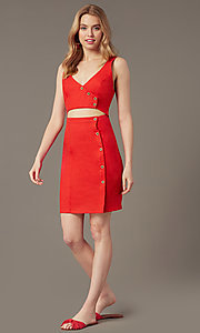 Image of short casual button-front v-neck party dress. Style: MY-7374SL1D Front Image