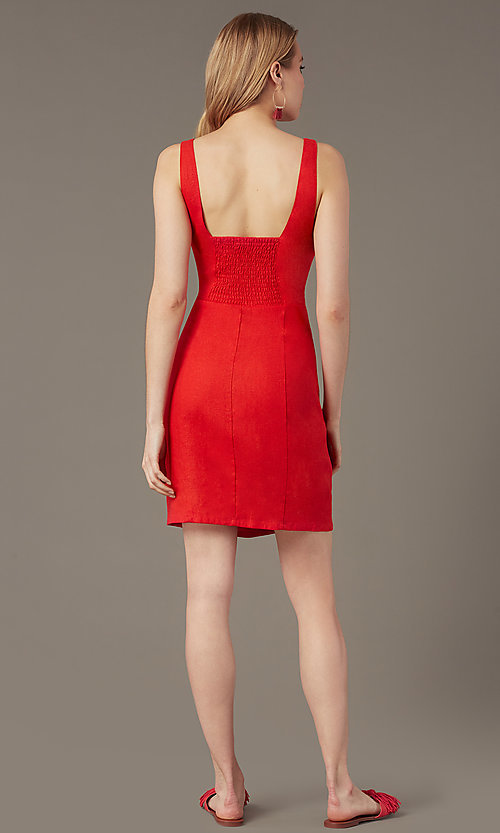 Image of short casual button-front v-neck party dress. Style: MY-7374SL1D Back Image