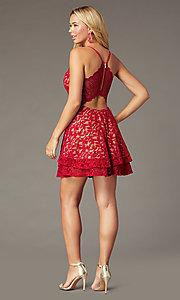 Image of short red lace homecoming dress with tiered skirt. Style: EM-FQP-4186-616 Back Image