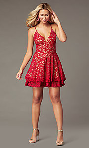 Image of short red lace homecoming dress with tiered skirt. Style: EM-FQP-4186-616 Detail Image 1