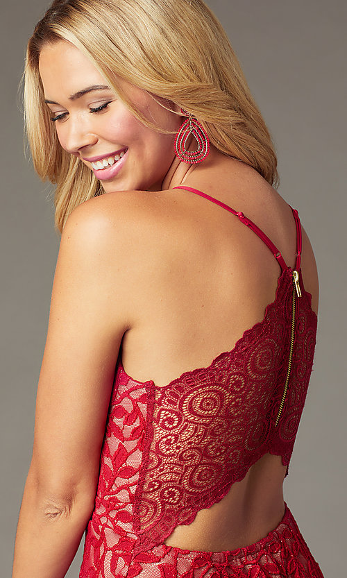 Image of short red lace homecoming dress with tiered skirt. Style: EM-FQP-4186-616 Detail Image 2