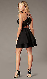 Image of sequin-bodice short black tiered homecoming dress. Style: EM-HAT-1733-001 Back Image