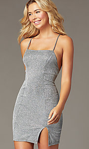 Image of metallic backless short silver homecoming dress. Style: MY-5856LT1C Detail Image 1