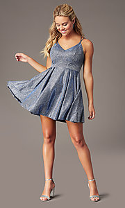 Image of short glitter-knit homecoming party dress. Style: MY-7393SZ1P Front Image