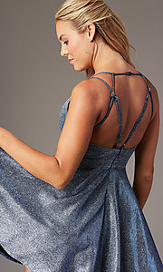 Image of short glitter-knit homecoming party dress. Style: MY-7393SZ1P Detail Image 2