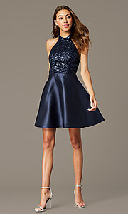 Image of short halter homecoming dress with sequin bodice. Style: MY-7454YP1P Detail Image 1