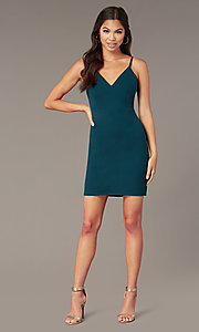 Image of short green v-neck party dress by PromGirl. Style: MT-PL-9340-1 Front Image