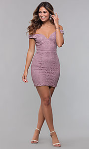 Image of short off-the-shoulder sweetheart lace party dress. Style: LP-25839-v Detail Image 3