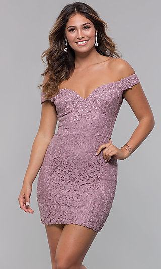 Short Off-the-Shoulder Sweetheart Lace Party Dress