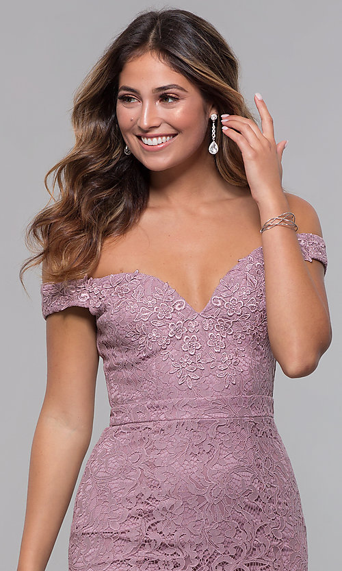 Image of short off-the-shoulder sweetheart lace party dress. Style: LP-25839-v Detail Image 1
