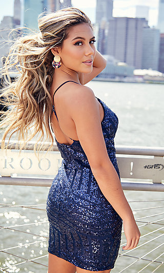 Navy Short Sequin Homecoming Dress by PromGirl