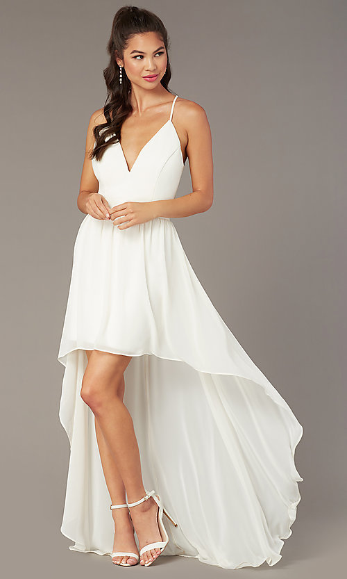 Image of high-low v-neck graduation party dress in ivory. Style: EM-FWT-1027-120 Back Image