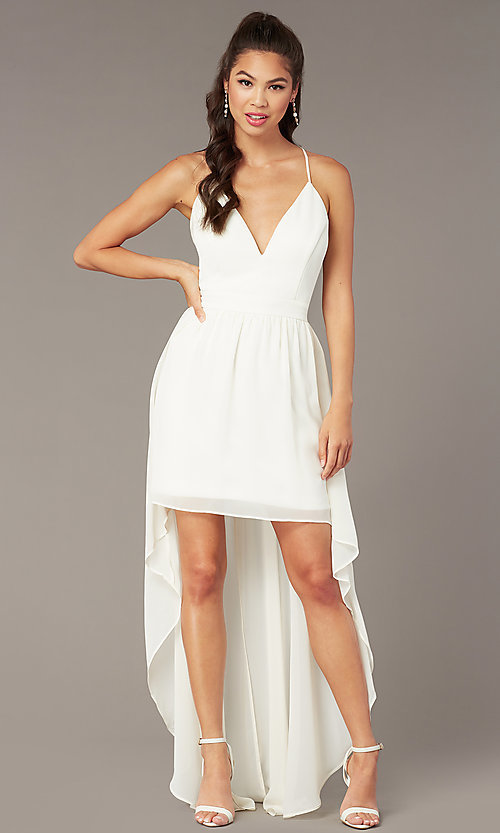 Image of high-low v-neck graduation party dress in ivory. Style: EM-FWT-1027-120 Detail Image 2