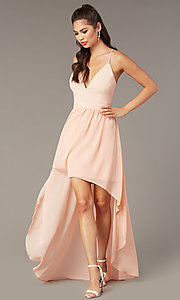 Image of v-neck high-low pink graduation party dress. Style: EM-FWT-1027-660 Back Image