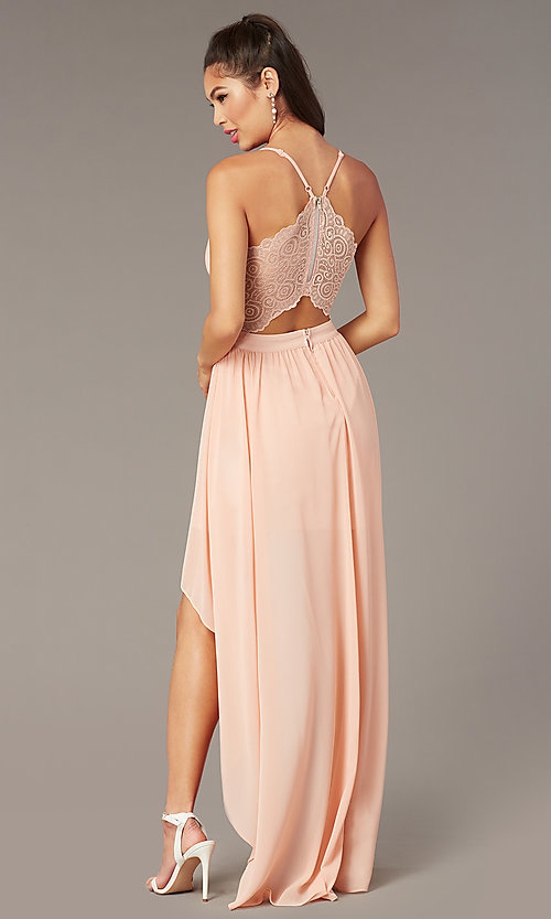 Image of v-neck high-low pink graduation party dress. Style: EM-FWT-1027-660 Front Image