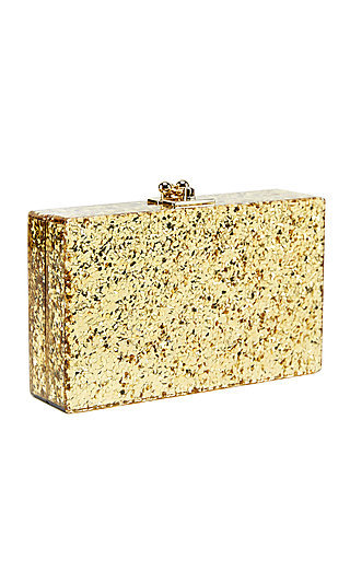 Ginger Gold Glitter Clutch with Removable Chain